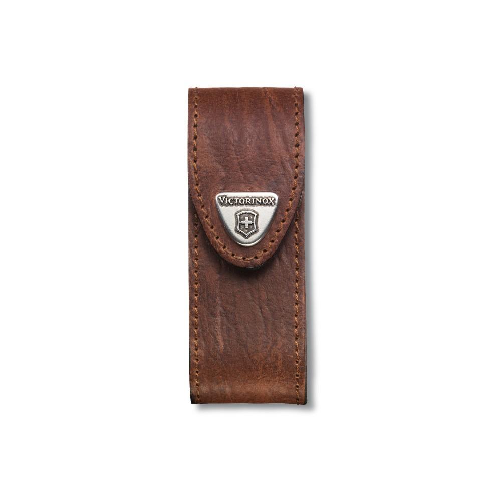 Etui ceinture avec velcro cuir brun