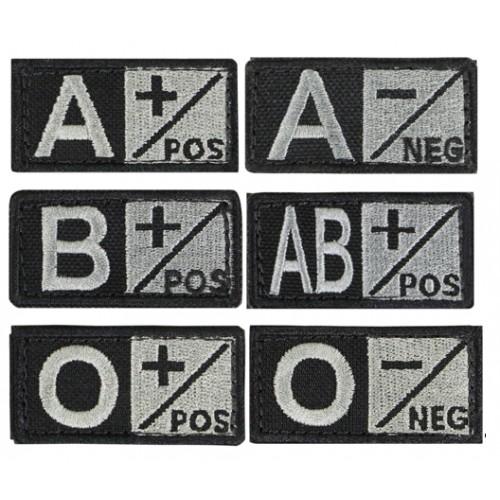 Blutgruppenabzeichen 2.5 x 5cm schwarz