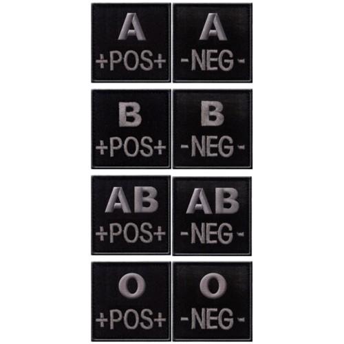 Insigne groupe sanguin 5 x 5cm noir