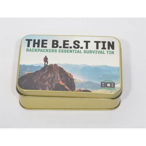 "Box of ""Backpacker Essentials Survival Tin BEST"""