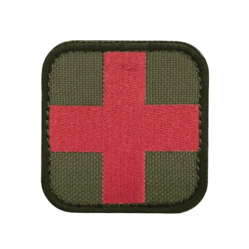 Badge medical croix rouge-olive